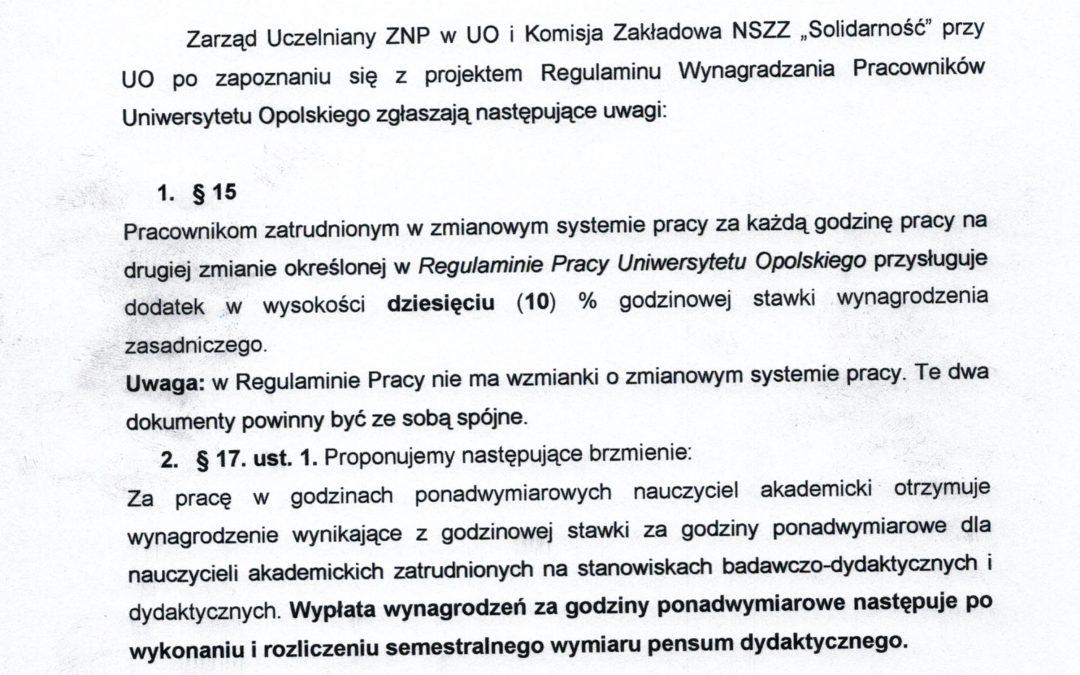 Uwagi KZ NSZZ Solidarność i Zarządu ZNP do projektu Regulaminu Wynagrodzeń